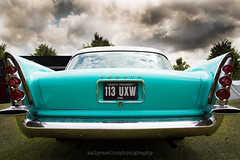 Firesweep rear (Sally Rawlins) Tags: blue classic car clouds canon vintage wings moody retro bumper fender american essex desoto taillights turqoise 24105 wingback cressing firesweep