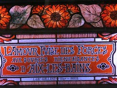 """Vitrail """"L'Amour puise des Forces aux sources bienfaisantes d'Aix-les-Bains"""", dtail (1897) Louis-Jacques Galland - Hall d'entre du thtre, Casino d'Aix-les-Bains (73) (Yvette Gauthier) Tags: casino artnouveau amour vitrail savoie thtre 73 sources aixlesbains bellepoque louisjacquesgalland"""