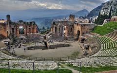 """Greek/Roman Theatre & Mt. Etna"" - Taormina, Sicily (TravelsWithDan) Tags: city urban italy mountains volcano theatre ngc sicily taormina hdr greektheatre romantheatre worldtrekker"