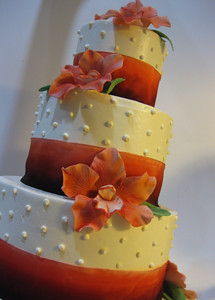 Buttercream Wedding Cake with Sugar Orchids and Ombre Ribbon