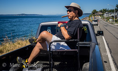 No Beach...No Problem, Improvise !  --  P7085057.jpg (Marc Weinberg) Tags: man beach sunshine cigar pickuptruck smoking improvisation parked relaxed stogie streetscenes comfortsofhome edmondswa nobeach bigcigar maninchair oldstogie