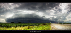 Severe thunderstorms/squall line with awesome shelf cloud (panorama) | Arcola, Illinois