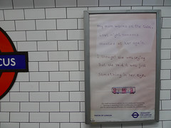 my mum works on the tube (Alberto Cameroni) Tags: leica london underground advertising tube publicity londra pubblicit dlux4