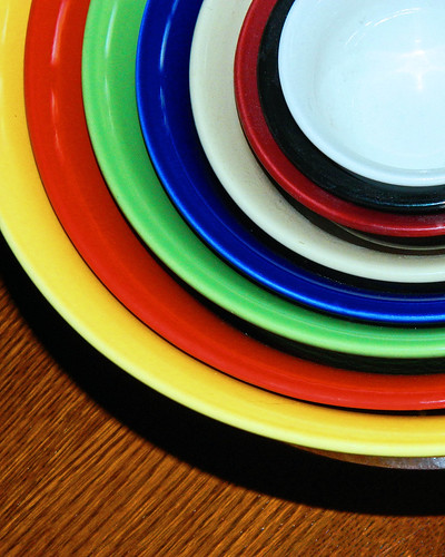 colorful stack round bowls crockery