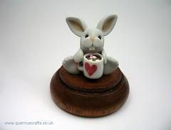 Little Cocoa Bunny (QuernusCrafts) Tags: cute bunny hotchocolate polymerclay mug cocoa greybunny quernuscrafts