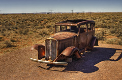 Route 66 (mokastet) Tags: old travel blue vacation arizona sky usa classic cars ford abandoned nature colors beautiful car america forest canon vintage model route66 rust skies desert antique decay painted neglected rusty front painteddesert 66 route national area weathered outback trucks autos wilderness oldcar wreck past  abandonment hdr automobiles decayed oldsmobile petrifiedforest petrified bluestblue forda a mokastet
