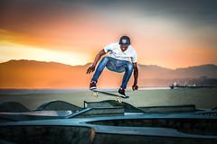 Airborne - [Explored] (Chigrboy2012) Tags: california park venice sunset beach sand skateboard skater skateboarder