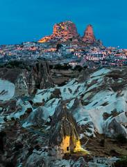Fairy Tale (Nomadic Vision Photography) Tags: turkey twilight asia unescoworldheritagesite historical bluehour cappadocia antiquity goreme jonreid uchisarcastle tinareid nomadicvisioncom