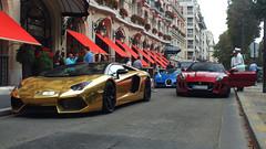 Combo Aventador Roadster - Veyron Grand Sport - F-Type ([Lo.Photos]) Tags: plaza paris sport gold grand trio jaguar bugatti lamborghini veyron ftype athne worldcars aventador