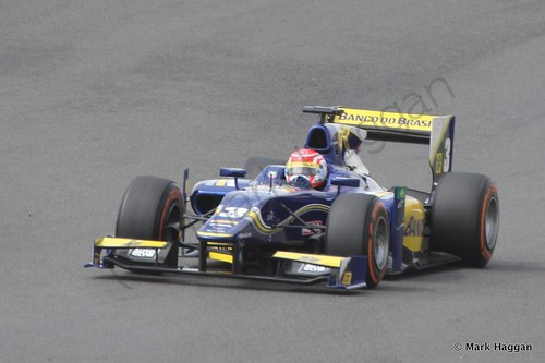 Felipe Nasr in his Carlin during the first GP2 race at the 2014 British Grand Prix weekend