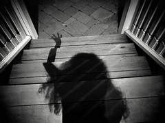 Shadow Creak (Creepella Gruesome) Tags: light shadow blackandwhite selfportrait night dark evening scary sinister steps surreal eerie haunted creepy spooky mysterious horror nightmare ghostly phantasm creepellagruesome