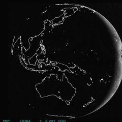 """Rotating"" Earth via Weather Satellites (sjrankin) Tags: weather globe earth edited nasa gif grayscale animatedgif rotating esa hemispheres jma mtsat eumetsat 13september2014"