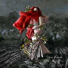 TRYING TO GET THE SUN THROUGH THE TREES (Silvia Andreasi (Images Beyond Mirror)) Tags: flowers light red portrait woman blur art texture leaves dark whimsy dress surrealism branches surreal fabric fantasy forgotten squareformat ethereal mystical emotional mystic whimsical dreamscape symbolism storytelling fineartphotography conceptualphotography whimsicalphotography imagesbeyondmirror silviaandreasi artpal