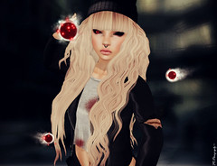 Don't come closer.. (Colorfulspring Resident) Tags: life red black sexy girl strange dark fun death gun die sad darkness go daughter bad away sl secondlife angry blonde second devil aww terminator sadly secodnlife slgirl slpoland