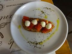 bruschetta in Rijeka (Fuzzy Traveler) Tags: mushroom cheese tomato bread bacon croatia pasta mozzarella rijeka
