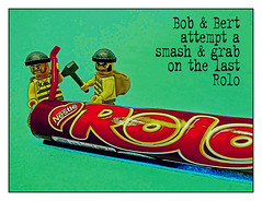 Bob & Bert attempt a smash & grab on the last Rolo!!! (tim constable) Tags: hammer lift lego sweet chocolate sinister lol nick bad evil precious sweets characters treat funnypics minifigs raid breakingthelaw thieves lawandorder pinch steal rolo confectionary crowbar criminals heist behaviour despicable breakopen minifigures burglars breakthelaw smashgrab breakinto timconstabletimconstable