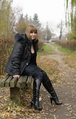 Lily (votangis) Tags: autumn woman girl 50mm alley nikon sitting lily boots outdoor fulllength ukraine nikkor khmelnitsky d5000 khmelnytskyioblast