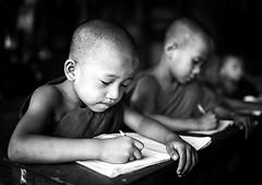 Myanmar - Birmania (peo pea) Tags: school portrait blackandwhite bw bn myanmar ritratto bianconero bagan reportage scuola monaci birmania
