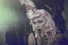 Luna Sugarcane (Thomas Grotmol) Tags: old pink film girl beauty look oslo norway vintage hair fun norge cupcakes candy circus makeup retro sugar cupcake shock lipstick muffin horrormovie lollipop candycane burlesque 30s 40s 20s sukker burlesk damagedfilm burlesquelook