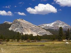 Springtime in the Yosemite High Country (RobertCross1 (off and on)) Tags: 1250mmf3563mzuiko ca california em5 highsierra lembertdome mountdana omd olympus sierranevada sierras tuolumne tuolumnemeadows tuolumneriver yosemite yosemitenationalpark bluesky clouds forest granite grass landscape nature snow trees