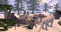 Avilion (Osiris LeShelle) Tags: secondlife second life avilion heart medieval fantasy roleplay bard circle gathering poets fire campfire winter snow landscape