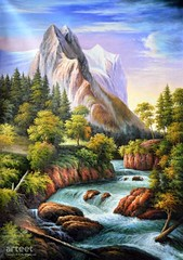 Path Along the Alpine Torrent, Art Painting / Oil Painting For Sale - Arteet™ (arteetgallery) Tags: arteet oil paintings canvas art artwork fine arts waterfall river water landscape rock stone forest stream park tree environment outdoor mountain summer rocks fall natural cascade spring tourism scenery scenic falls wild creek flowing valley splash canyon outdoors flow trees waterfalls peaceful wet mountains grass stones wilderness sky motion tranquil serene ecology ravine peace landscapes surreal fantasy blue green