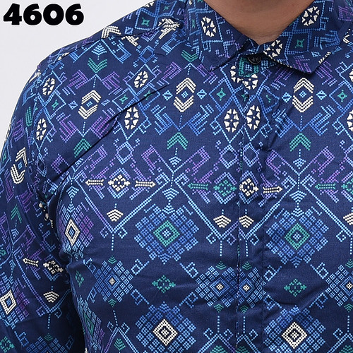 4606 Long Navy Batik Songket M,L Detail