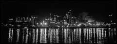 The Great Western Distillery (argentography) Tags: hiramwalker adm distillery whiskey peoria illinois midwest industrial river ica antiquecamera film night noir tessar carlzeiss panorama blackandwhite bw 6x13 polyscop polyskop