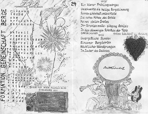 19860000 Steiermark EMyB Zeichnung Text Anton Schubert Gedenken Odstein Gesäuse