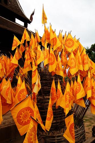 Lotsa Yellow Flags at a Temple in Chiang Mai