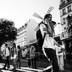 Paris. Afternoon.. (lalie sorbet) Tags: street people blackandwhite paris france square noiretblanc tourists moulinrouge rue gens carr touristes placeblanche laliesorbet