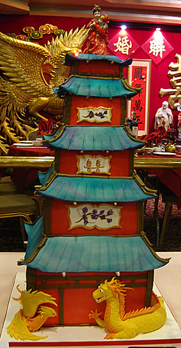 Chinese Pagoda Wedding Cake with Phoenix and Dragon