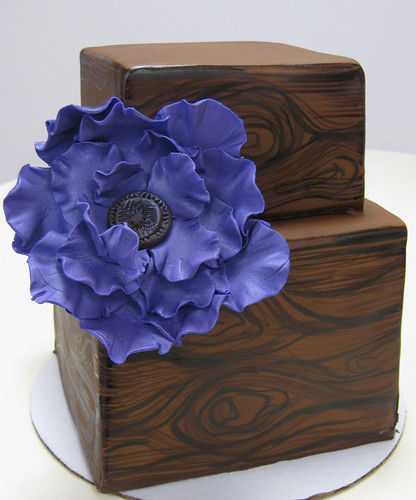 Painted Woodgrain Square Wedding Cake med