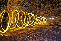 Steel Wool - Tornado Fire (Cristiano Drago) Tags: light beach canon fire lights luci spiaggia luce fuoco steelwool blondegirl 650d lightpanting ilobsterit cristianodrago
