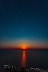 Red Moonrise (Oddiseis) Tags: red sea moon night reflections stars spain mediterranean nightscape nocturnal horizon cliffs moonrise formentera balearicislands
