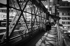 The Long Way Home - Explored (Sean Batten) Tags: street city bridge light shadow england people blackandwhite bw london night train 35mm nikon unitedkingdom streetphotography embankment commuters d800 photo24london