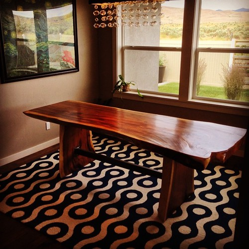 Recently Installed In SE #boise Custom Natural Edge Dining Table Made From  #monkeypod Wood