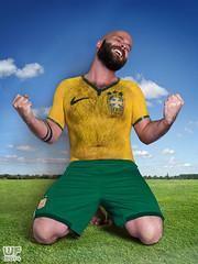 Erol 04 - Seleo bodypaint (WF portraits) Tags: brazil portrait hairy male green yellow studio beard football model soccer bald bodypaint worldcup aut