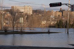 Parking lot (le calmar) Tags: sunset canada water canon river reflex flooding eau downtown dusk rivire dos qubec sherbrooke soir centreville innovations saintfrancois 50d canon50d