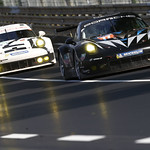 no_77 Dempsey Racing-Proton Porsche leads No_ 92 Porsche 911 RSR at Le Mans