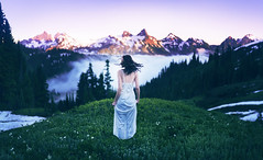 Snow Crested Mourning (caparsons1) Tags: park flowers sunset portrait white inspiration mountains nature colors girl beauty sarah clouds landscape photography washington amazing model scenery dress hill surreal rob mount national rainier stunning ann conceptual 500px woodcox loreth ifttt