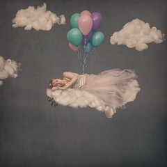 Sleeping Beauty (Grant MacIvor) Tags: red sky art texture girl birds clouds photomanipulation photoshop hair balloons photography rainbow nikon long dress grant fine butterflies surreal floating levitation tags redhead conceptual whimsical photograhy fineartphotography levitate macivor conceptualphotography whimsicalphotography