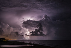 Contrasting Clouds (lightonthewater) Tags: ocean storm beach gulfofmexico clouds thunderstorm lightning seagrovebeach lightonthewater