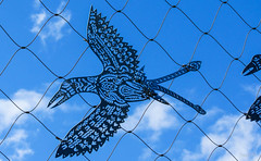 I Want to be Free (Jocey K) Tags: sky sculpture bird art clouds wire queensland cairns austraila