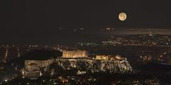 Athens (Thomas Mülchi) Tags: nightshot athens greece attica 2014 mountlycabettus acropolisofathens supermoon 2shotcomposite