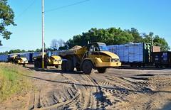 Traffic.. (Jacob Gunderson) Tags: up wisconsin yard train cat construction traffic adams pacific union caterpillar vehicles railfan freight manifest