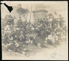 Darlinghurst Public School - Excursion to Kurnell. At the foot of Cook's monument (State Records NSW) Tags: blackandwhite children education archives learning newsouthwales schools teachers staterecordsnsw