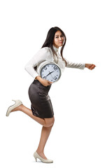 Business woman running and holding a clock (Patrick Foto ;)) Tags: portrait people woman white motion clock girl beautiful female work studio asian thailand person office jumping holding funny asia looking adult time expression background watch young fast running run professional business busy hour thai late worker concept copyspace hurry stress executive job stressed deadline isolated employee minute businesswoman