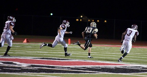 """Run after catch vs. Hallettsville. Freshman year. • <a style=""""font-size:0.8em;"""" href=""""http://www.flickr.com/photos/38444578@N04/15146876691/"""" target=""""_blank"""">View on Flickr</a>"""
