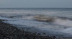 229 Newcastle 110814 wide (Philip D Ryan) Tags: ireland sunset twilight surf eveninglight breakingwave newcastlebeach irishsea countywicklow shinglebeach